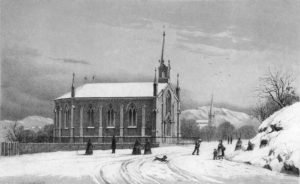 church lithograph winter